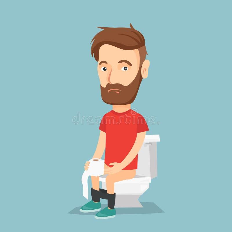 Homme souffrant de la diarrhée ou de la constipation illustration libre de droits