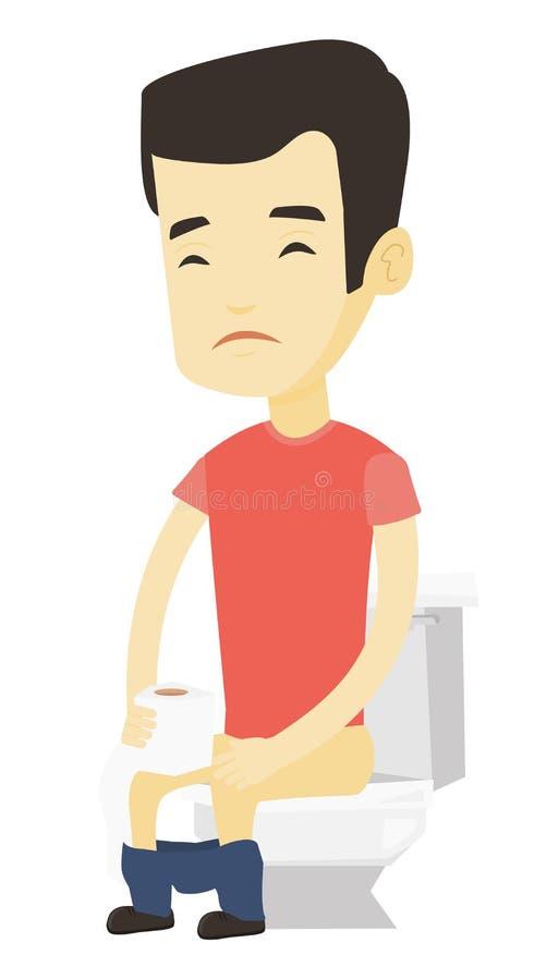 Homme souffrant de la diarrhée ou de la constipation illustration de vecteur