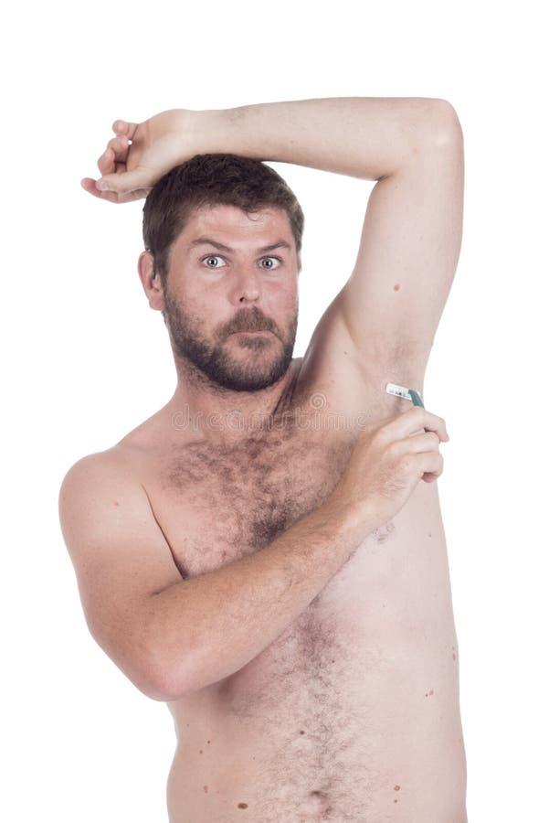 Homme sourd avec le rasage cochléaire d'implant photographie stock