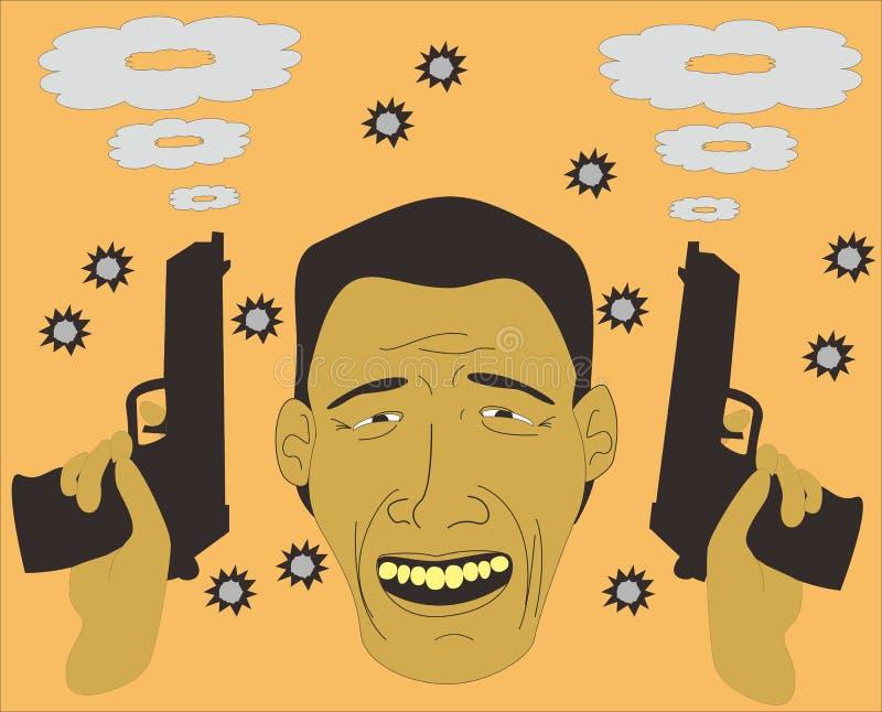 Homme souriant après échange de coups de feu photo libre de droits