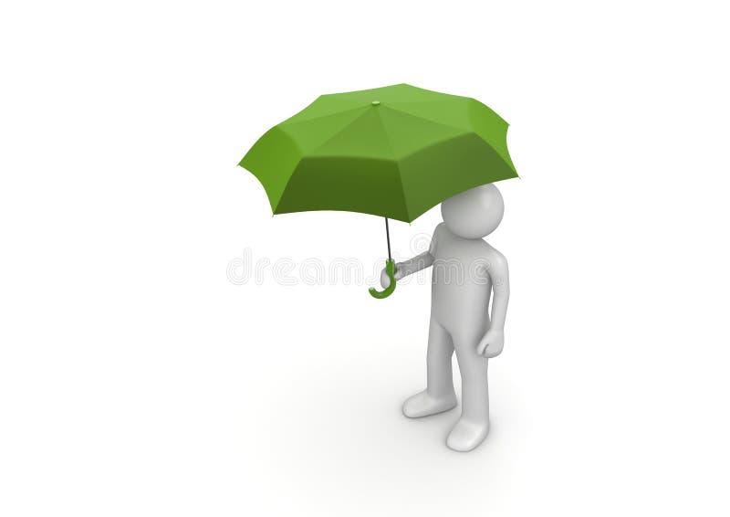 Homme sous le parapluie vert illustration libre de droits