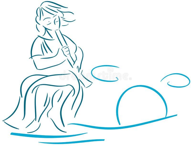 Homme stylisé avec le klaxon dans le bleu d'isolement illustration libre de droits