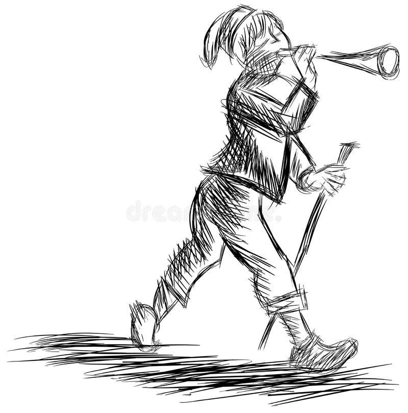 Homme stylisé avec le klaxon dans le noir d'isolement illustration stock