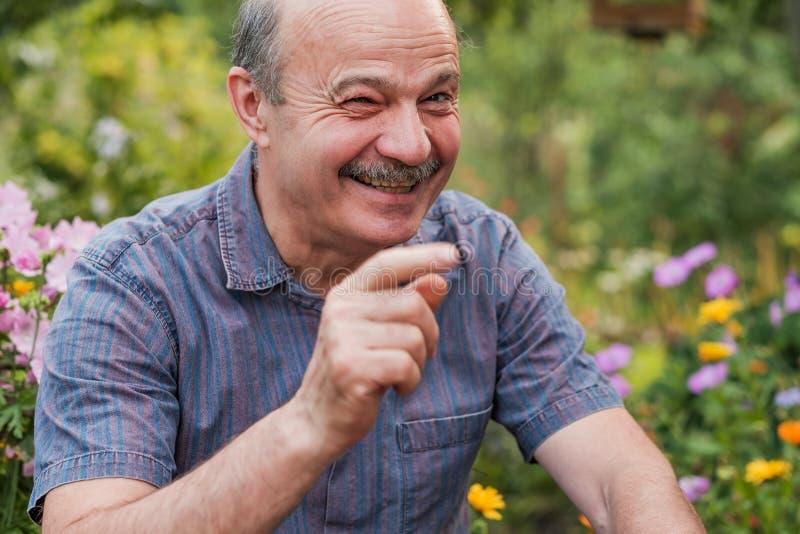 Homme supérieur attirant de sourire regardant directement l'appareil-photo et rire photographie stock