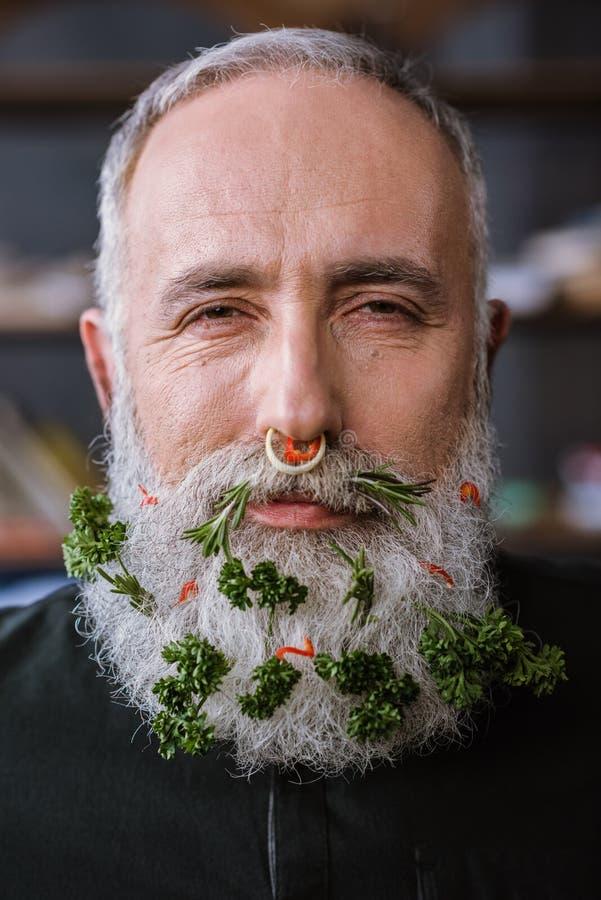 Homme supérieur avec des verts dans la barbe photographie stock