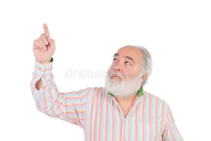 Homme supérieur avec le pressing de barbe blanche quelque chose avec son doigt image libre de droits