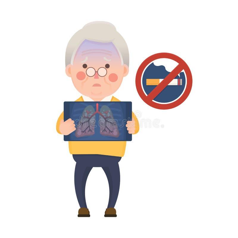 Homme supérieur ayant Lung Problem et le signe non-fumeurs illustration libre de droits
