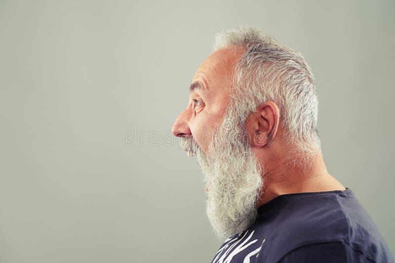 Homme supérieur criard avec la barbe aux cheveux gris photos libres de droits