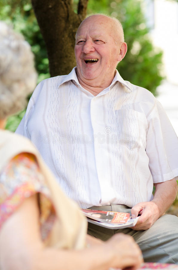 Homme supérieur heureux photos libres de droits