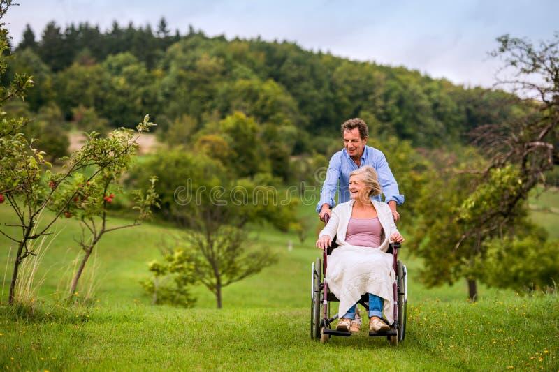 Homme supérieur poussant la femme dans le fauteuil roulant, nature verte d'automne images libres de droits