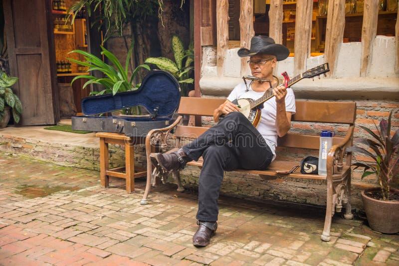 Homme supérieur s'asseyant sur le banc jouant le banjo image libre de droits