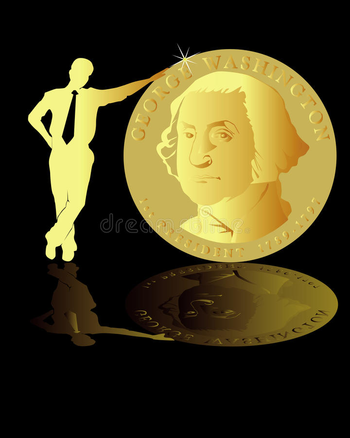 Homme supportant une pièce de monnaie illustration stock