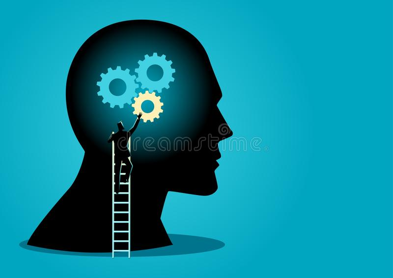 Homme sur l'échelle installant des vitesses sur la tête humaine illustration de vecteur