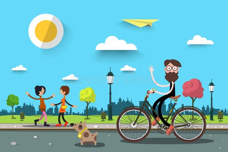 Homme sur la bicyclette avec deux femmes illustration de vecteur