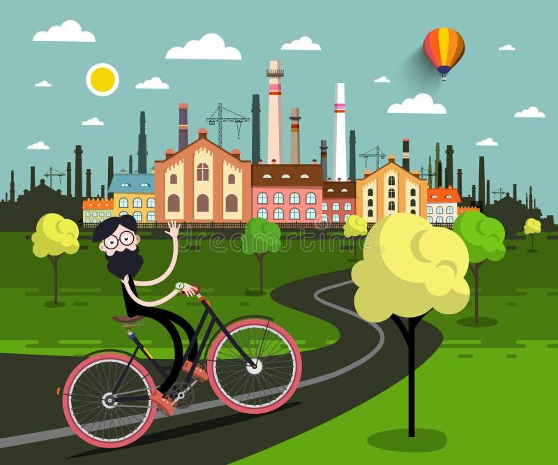 Homme sur la bicyclette avec industriel illustration de vecteur