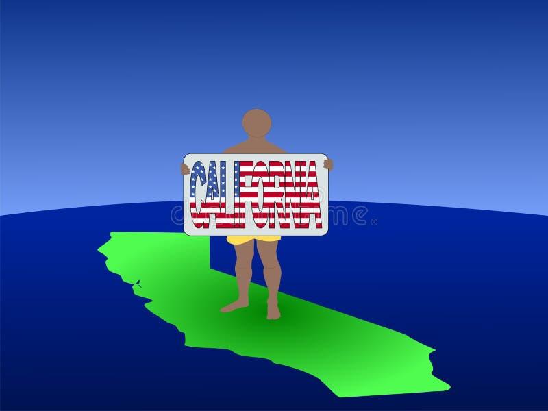 Homme sur la carte de la Californie illustration stock