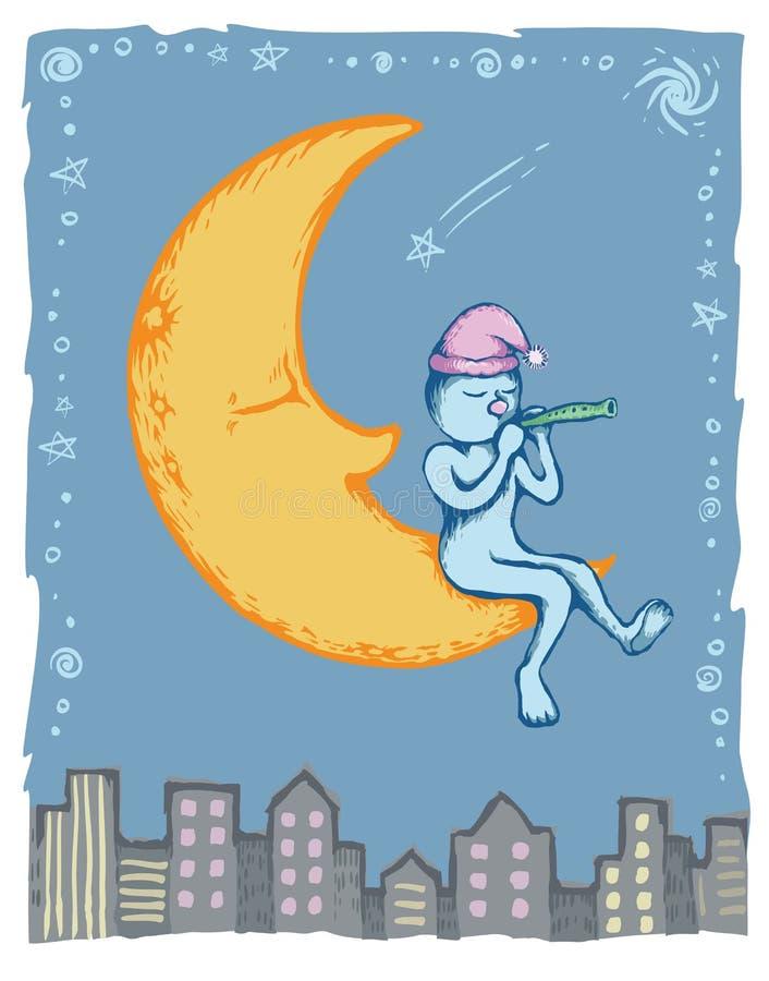 Homme sur la lune illustration libre de droits