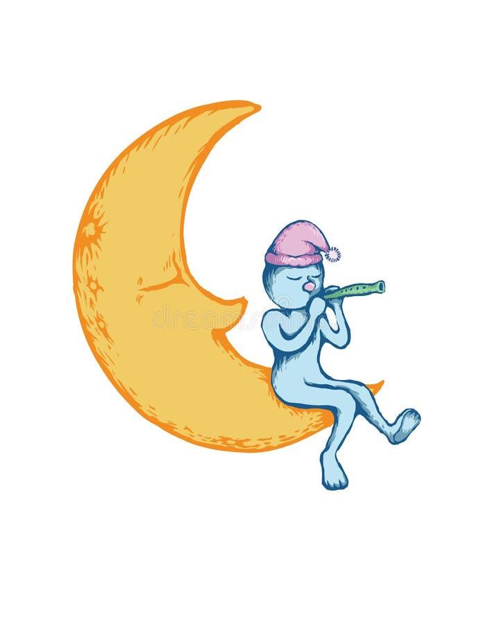 Homme sur la lune illustration stock