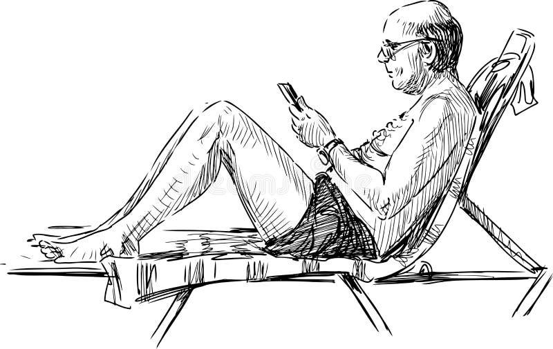 Homme sur la plage illustration de vecteur