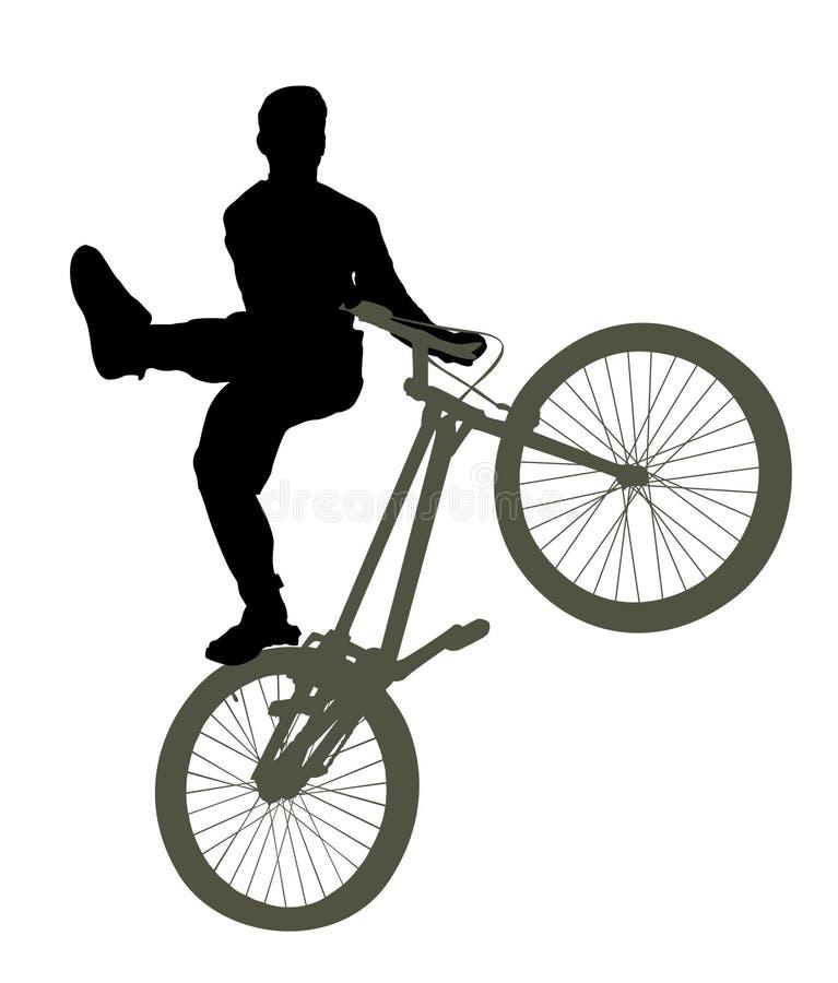 Homme sur la silhouette de bicyclette illustration stock