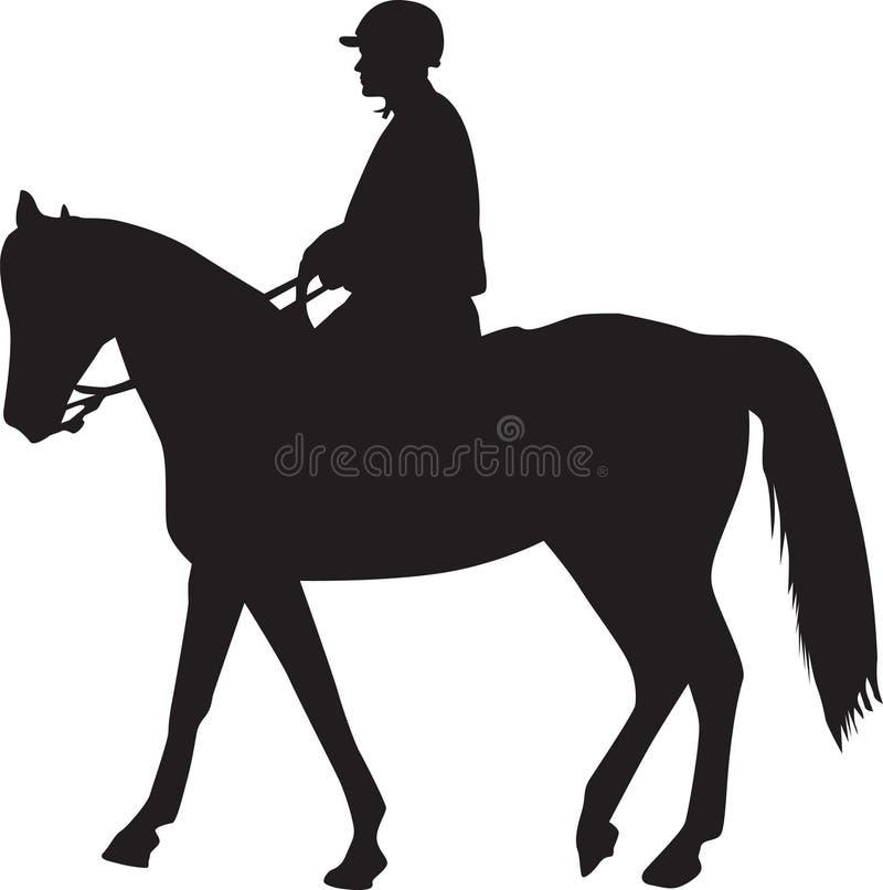 Homme sur la silhouette de cheval  images stock