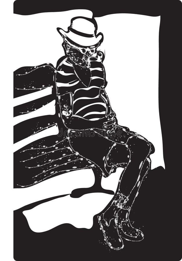 Homme sur le banc illustration de vecteur