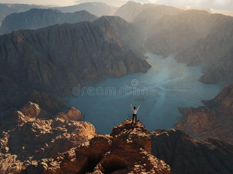 Homme sur le bord de la falaise illustration stock