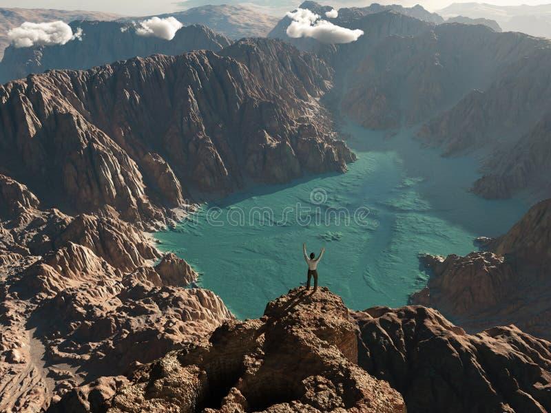 Homme sur le bord du canyon illustration stock