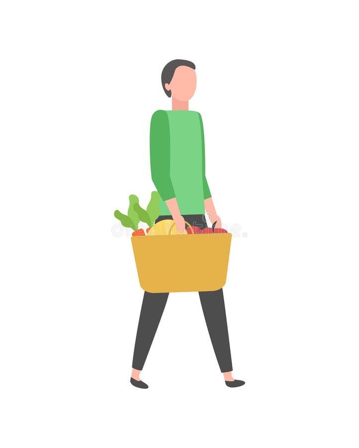 Homme sur le caractère d'isolement par produits d'achat d'achat illustration stock