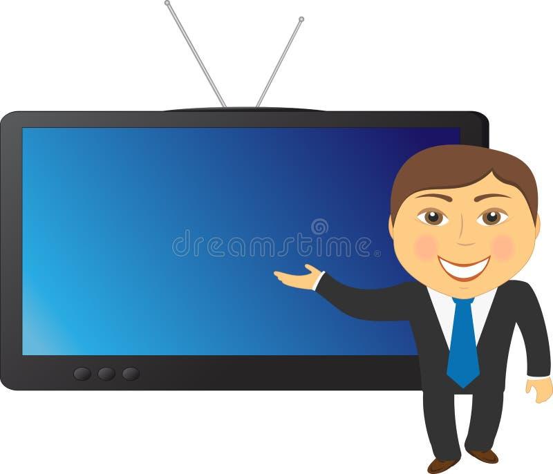 Homme Sur Le Fond De TV Photo libre de droits