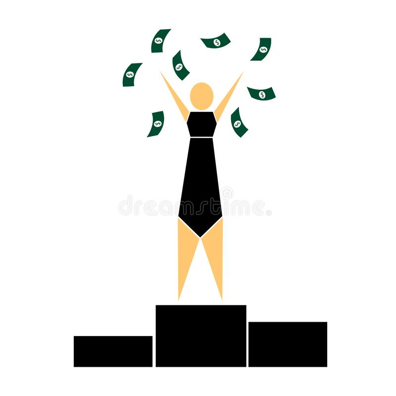 Homme sur le piédestal, gagnant, salaire élevé illustration libre de droits