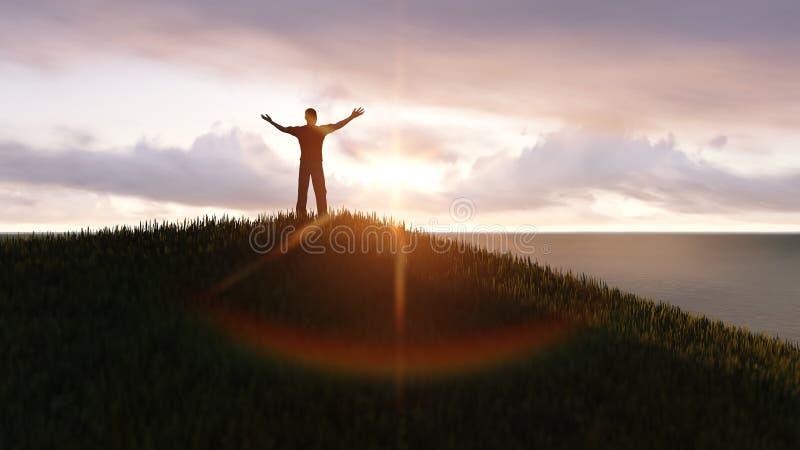 Homme sur un dessus de montagne illustration stock