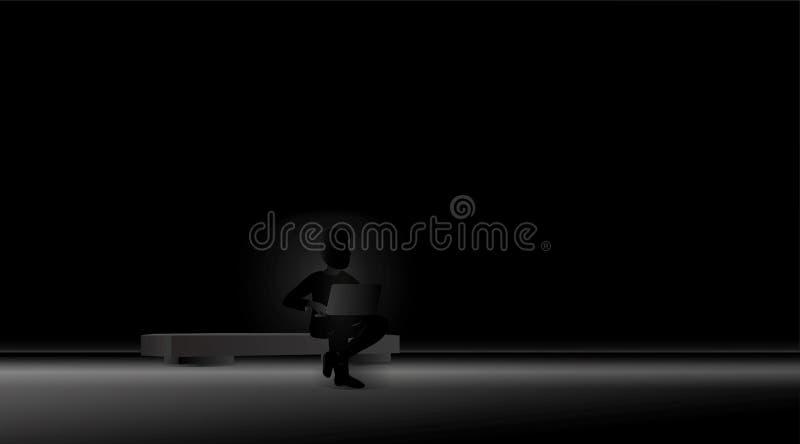 Homme sur un Internet surfant de banc dans la solitude illustration libre de droits