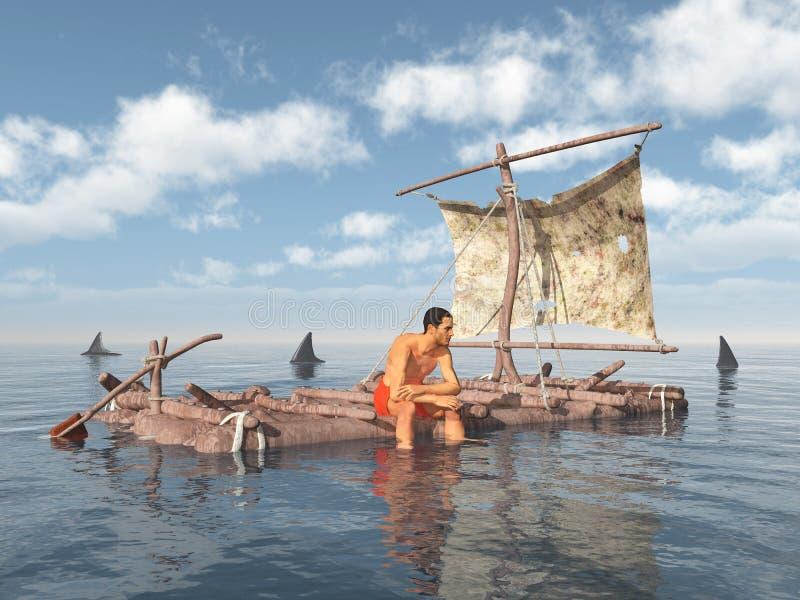 Homme sur un radeau entouré par des requins illustration de vecteur