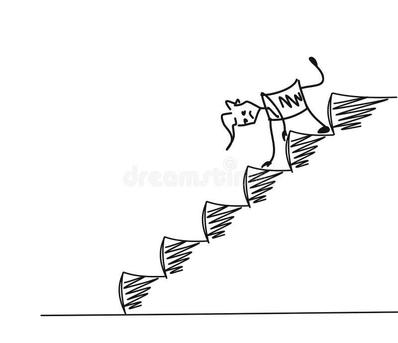 Homme sur vers le bas des escaliers illustration de vecteur