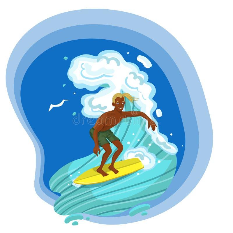 Homme surfant conquérant une image de vecteur d'isolement par vague illustration de vecteur