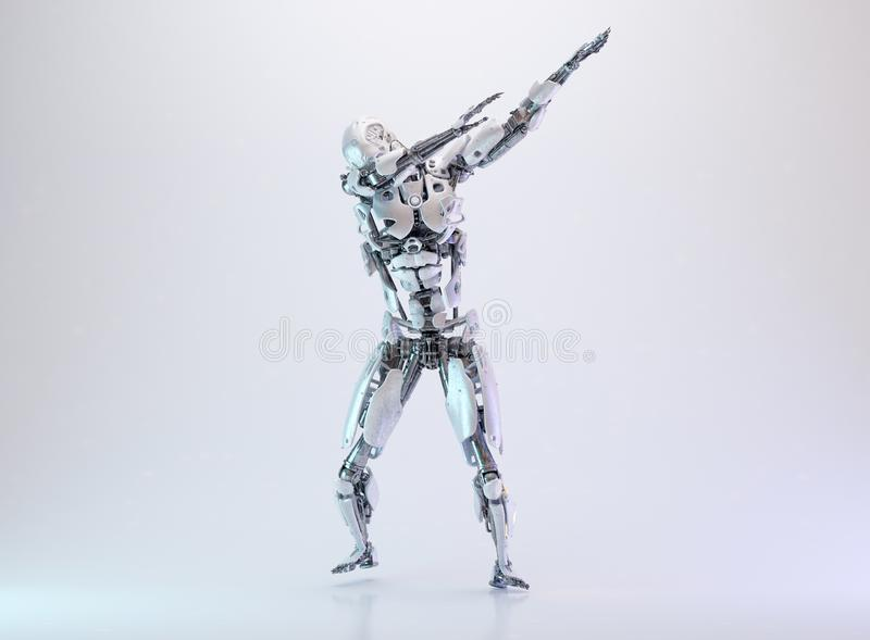 Homme tamponnant de cyborg de robot, concept de technologie d'intelligence artificielle illustration 3D illustration de vecteur