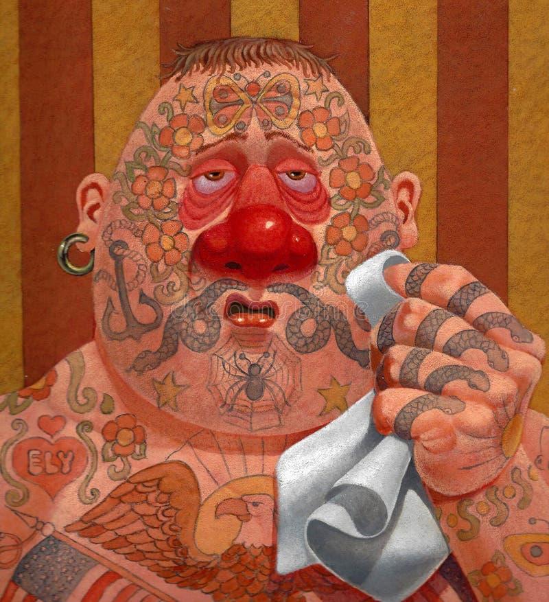 Homme tatoué avec le froid illustration libre de droits