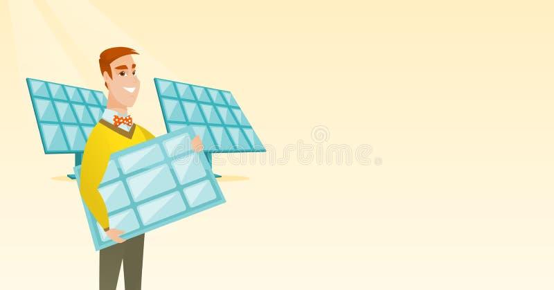 Homme tenant l'illustration de vecteur de panneau solaire illustration stock