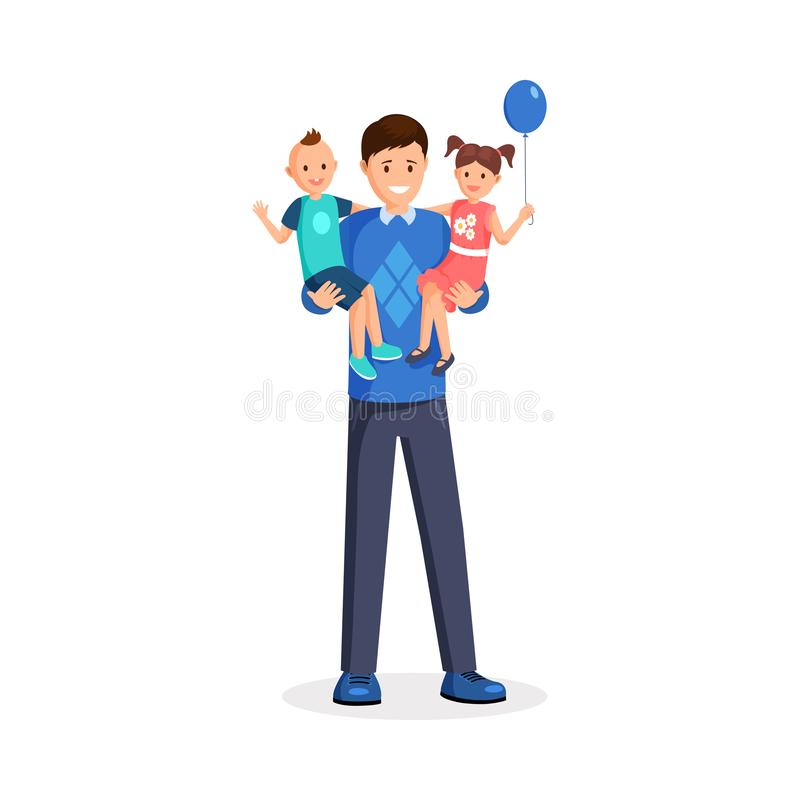 Homme tenant l'illustration plate de vecteur d'enfants Papa heureux, babysitter, petit enfant en bas âge et fille de sourire avec illustration de vecteur