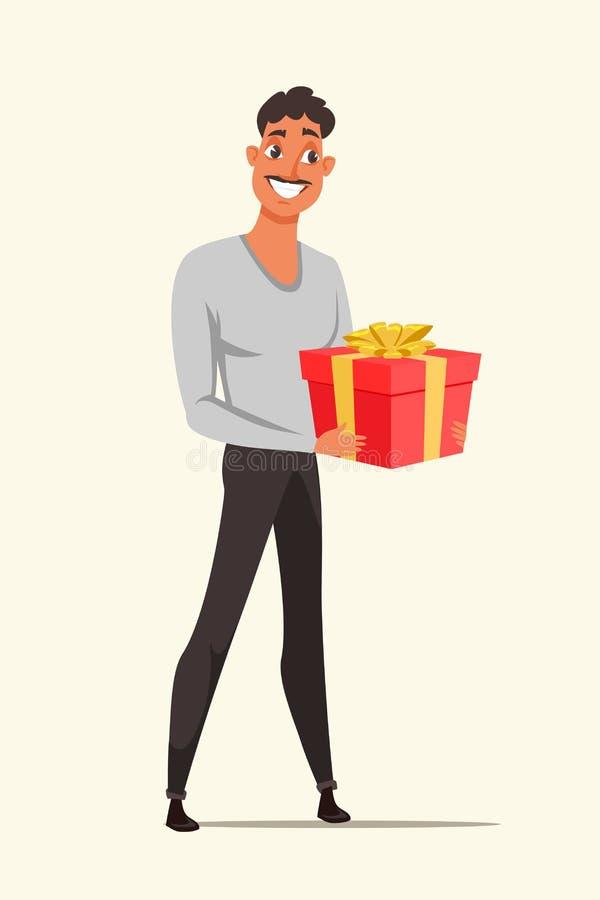 Homme tenant l'illustration rouge de vecteur de couleur de boîte-cadeau illustration de vecteur