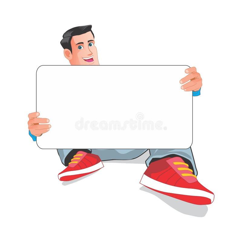 Homme tenant la bande dessinée de tableau blanc photos stock