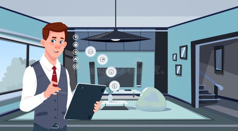 Homme tenant la Tablette de Digital utilisant la maison futée APP au-dessus de la technologie moderne de fond de salon de la surv illustration libre de droits