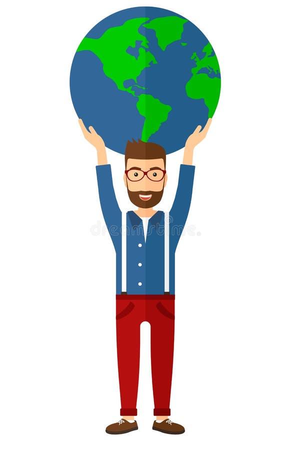 Homme tenant le globe illustration libre de droits
