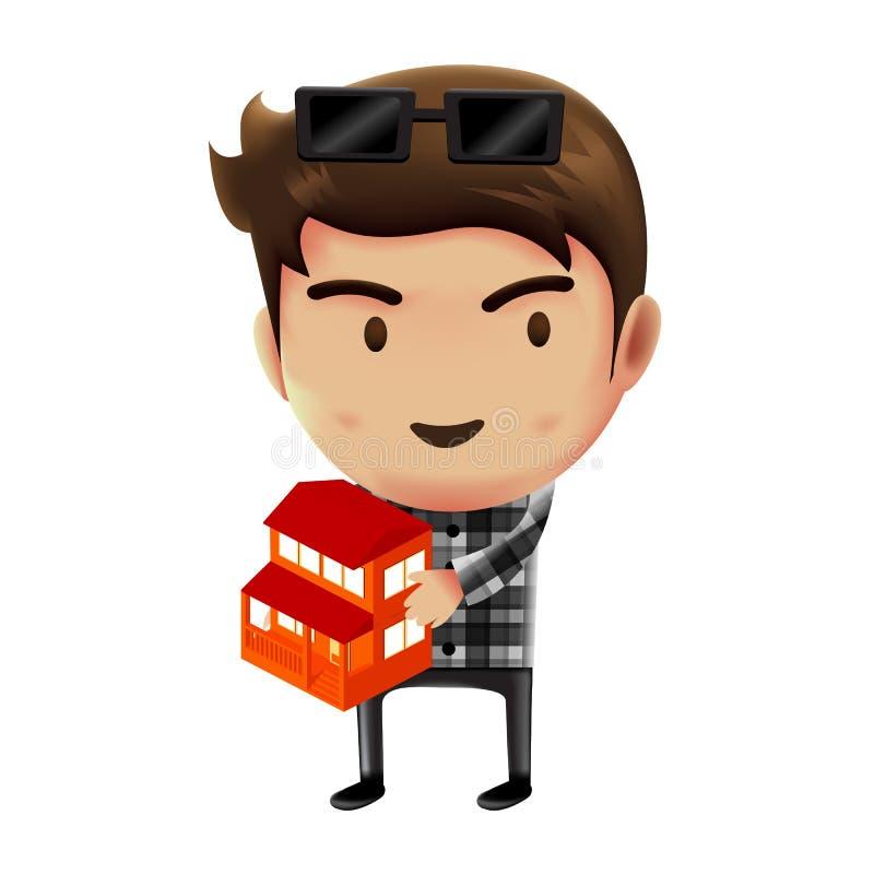 Homme tenant le modèle à la maison, homme d'affaires travaillant, conception de personnages illustration libre de droits