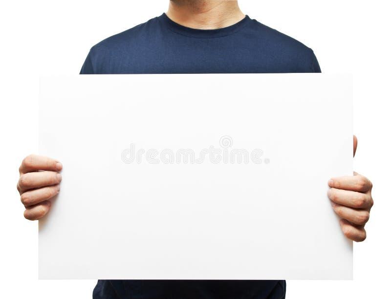 Homme tenant le panneau d'affichage blanc images libres de droits