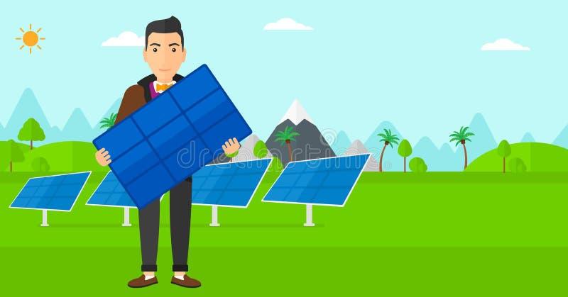 Homme tenant le panneau solaire illustration de vecteur