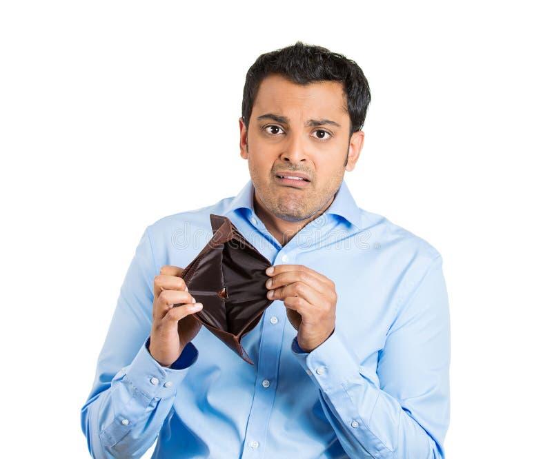 Homme tenant le portefeuille vide images libres de droits