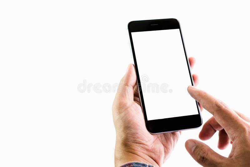Homme tenant un écran vide de smartphone Prenez votre écran pour mettre faire de la publicité dessus image libre de droits