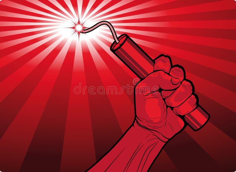 Homme tenant un bâton brûlant de dynamite images libres de droits